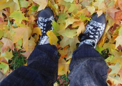 Mina skor bland höstlöven