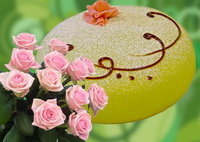 Blommor och tårta