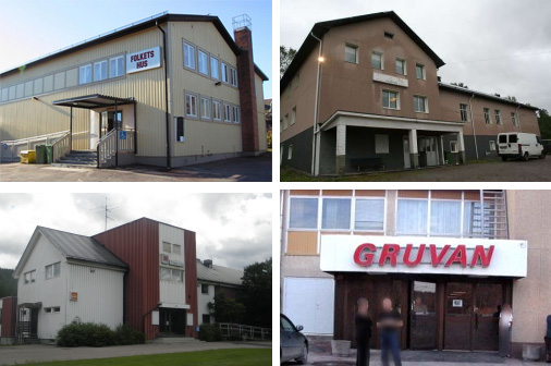 Folkets Hus. Ovan t.v: Edsvalla. ovan t.h: Jässefors Nedan t.v: Lesjöfors Nedan t.h Grums
