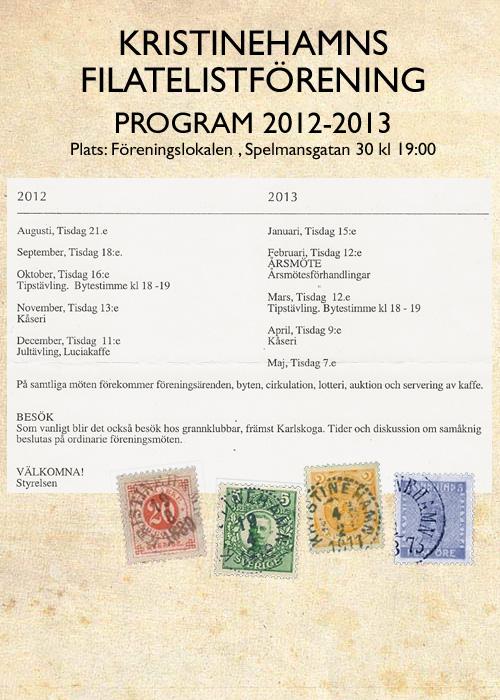 Program för Kristinehamns Filatelistförening