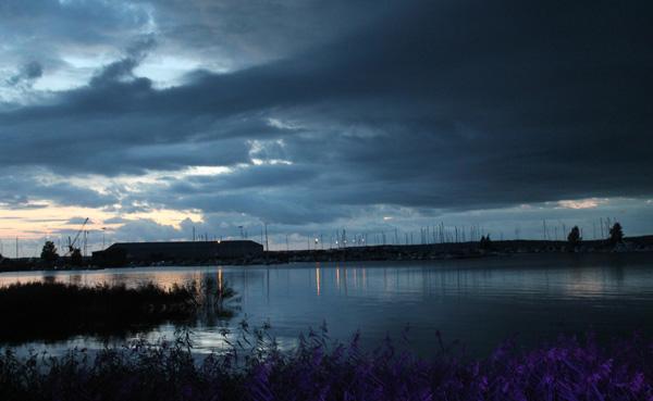 Skymning över Mariestad